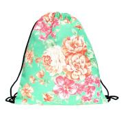 Fullprint Drawstring Bag Backpack Rucksack School Book Bags Gymbag Gym Sack Outdoor Sackpack Shopping Mint Flower