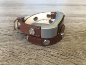 Double Wrapped . Brown Leather Band For Fitbit Alta And Alta HR Handmade Eco Friendly Bracelet With Multiple Silver Rivets By BSI