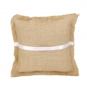 Burlap Rustic Hessian Ring Bearer Pillow Cushion Wedding Party 7 * 18cm