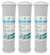 3x AquaHouse 25cm Carbon Block CTO Water Filter Cartridges for Drinking Water, Reverse Osmosis Systems, fits all 25cm Filter Housings