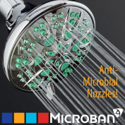 Antimicrobial / Anti-Clog High-Pressure 6-setting Shower Head by AquaDance with Microban Nozzle Protection from Growth of Mould, Mildew & Bacteria for Stronger Shower! 3 Jet Colour Choices