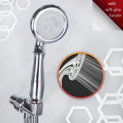 High Pressure JIANAN Shower Head Set includes Handheld Showerhead, Adjustable Mount & 1.5m Flexible Hose with Bioactive Stones to Protect and Soften Your Skin & Hair