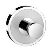 qinisi Coat Hook Single Towel Robe Clothes Hook for Bath Kitchen Contemporary Round Style Wall Mounted Chrome Finish