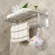 XHSP Double-deck Foldable Alumimum Towel Rack Bathroom Towel Hanger Holder Organiser with Hooks and Towel Bars
