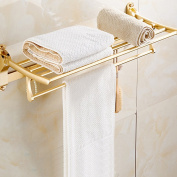 XHSP Double-deck Foldable Alumimum Towel Rack Bathroom Towel Hanger Holder Organiser with Hooks and Towel Bars,Golden