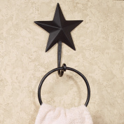 Black Barn Star 23cm x 15cm Metal Hand Towel Hook with Ring