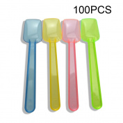 Honbay 100PCS Assorted Transparent 8.9cm Mini Plastic Shovel Spoons Perfect For Sampling Tasting or Taste Testing Frozen Desserts Ice Cream Cereal Yoghurt Cake Pie or any Food You Desire