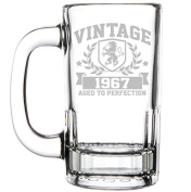 350ml Beer Mug Stein Glass 50th Birthday Vintage Aged To Perfection 1967