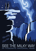 Vintage Yosemite America Travel Poster Milky Way Reproduction A3 Poster / Print 260GSM Photo Paper