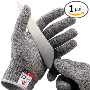 NoCry Cut Resistant Gloves - High Performance Level 5 Protection, Food Grade. Size Large, . Included!