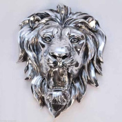 Lion Head Wall Hanging 47cm Animal Plaque Silver Electroplated Resin