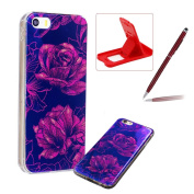 For iPhone 6S Silicone Case,Herzzer Luxury Ultra Slim Stylish Blue Light [Water Lily Pattern] Dual Layers Protection Soft TPU Bling Sparkle Glitter Protective Designer Case Cover for iPhone 6/6S 12cm + 1 x Free Red Cellphone Kickstand + 1 x Free Cl ..
