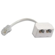 RJ45 Network Splitter (Economiser) - 1 x RJ45 (Male) to 2 x RJ45 (Female) Connexions - ISDN - Internet - Ethernet - LAN - One throughput at a time unless used in pairs