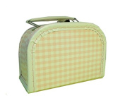 Paper Suitcases, Pink White Checked Trim 16 cm
