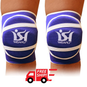 Volleyball Martial Art Knee Pads Protector Gear Sports Knee Guard Work Wear Nonslip Elastic Blue PAIR