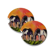 Natural Sandstone Car Drink Coasters (set of 2) - Piebald Gypsy Horses at Sundown Horse Art by Denise Every