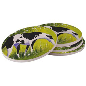 Ceramic Sandstone Drink Coaster Set - Black Spotted Greyhound Abstract Dog Art by Denise Every