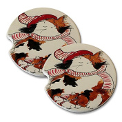 Natural Sandstone Car Drink Coasters (set of 2) - Maine Coon Kitty Calico and Mouse Winter Cap and Mittens Cat Art by Denise Every