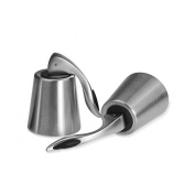 Red Wine Bottle Stoppers Stainless Steel with Inner Rubber Seal Keep Wine Fresh(set of 2)