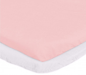aBaby Bassinet Mattress Protector and Sheet Combo, Pink, 33cm x 70cm