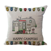 Hatop Happy Camper Home Style Throw Pillow Cover Cushion Case