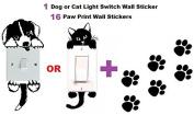 1 Light Switch Decal + 16 FREE Paw Print Vinyl Wall Stickers, Car Nursery Laptop Window - USA Shipping - CAT
