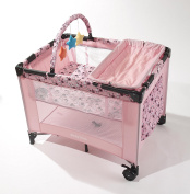 Big Oshi Deluxe Pack 'N Play Playard Nursery Centre with Full Size Bassinet, Pink Circles