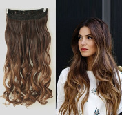 50cm Wavy 3/4 Full Head Clip in Hair Extensions Ombre One Piece 2 Tones (Chocolate brown/Dark Blonde) DL