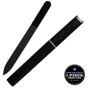 Bona Fide Beauty Czech Glass Nail File - 1-Piece Black Medium Manicure File in Black Hard Case - Gentle Nail Care - File in Any Direction