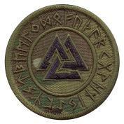 Multicam Valknut Viking Norse Runic Heathen Pagan Odin God Rune Morale Tactical Fastener Patch