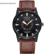 Hannah Martin Luxury Men Leather Stainless Steel Sport Quartz Wrist Watch ,Tuscom