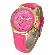 Women's Fashion Geneva Roman Numerals Faux Leather Analogue Quartz Wrist Watch ,Tuscom