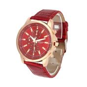 Unisex Casual Geneva Faux Leather Quartz Analogue Wrist Watch ,Tuscom