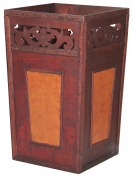 Handcrafted Wood And Faux Leather Wastebasket
