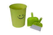 Wastebasket and Broom/Dustpan Set, Happy Face in Green