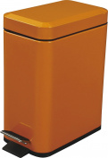 Azumaya Orange Dust Trash Can Square Shape Comapct 4.9lContain Steel Shiny Coating size 29cm High LFS-076OR