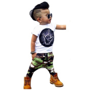 XILALU Baby Boy Cool Letter T shirt Tops + Camouflage Pants Outfits
