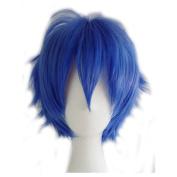 Short Fluffy Cosplay Wig For Women and Men Unisex Costume Wig Dark Blue