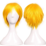 Short Fluffy Cosplay Wig For Women and Men Unisex Costume Wig Yellow
