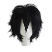 Short Fluffy Cosplay Wig For Women and Men Unisex Costume Wig Black