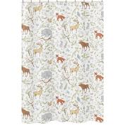 Blue, Grey and White Woodland Deer Fox Bear Animal Toile Kids Bathroom Fabric Bath Shower Curtain