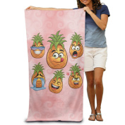 Facial Expression Pineapple Comfortable Highly Absorbent Beach Towel 80cmx30cm