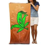 Face Green Grass Cartoon Fashion Highly Absorbent Beach Towel 80cmx30cm