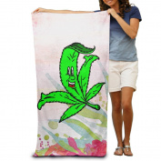 Face Green Grass Cartoon Comfortable Highly Absorbent Beach Towel 80cmx30cm