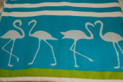 Cynthia Rowley Flamingo Beach Towel Aqua Blue Spa Pool Lake Camp