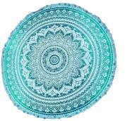 Jaipurhandloom Indian Mandala Round Roundie Beach Throw Tapestry Hippy Hippie Gypsy Cotton Tablecloth Beach Towel , Round Yoga Mat
