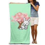 Pink Leaf Tree Rabbit Comfortable Highly Absorbent Beach Towel 80cmx30cm