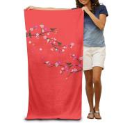 Peach Blossom Bird Spring Fashion Highly Absorbent Beach Towel 80cmx30cm