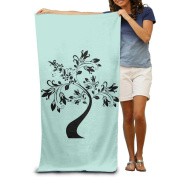 Special S Type Black Tree Fashion Highly Absorbent Beach Towel 80cmx30cm