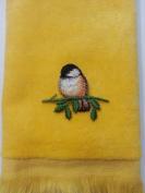 Sparrow Fingertip Towel Applique Mom bird Grandma yellow
